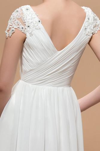 Krátke rukávy Elegantné Skladaný živôtik Čipkou Overlay Večerné šaty - Strana 5