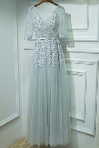 Čipkou Overlay Banket Ilúzia rukávmi Elegantný Družičky šaty - Strana 1