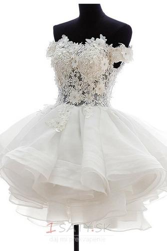 Krátke Off rameno Letné Tlačidlo Prírodné pása Svadobné šaty - Strana 1