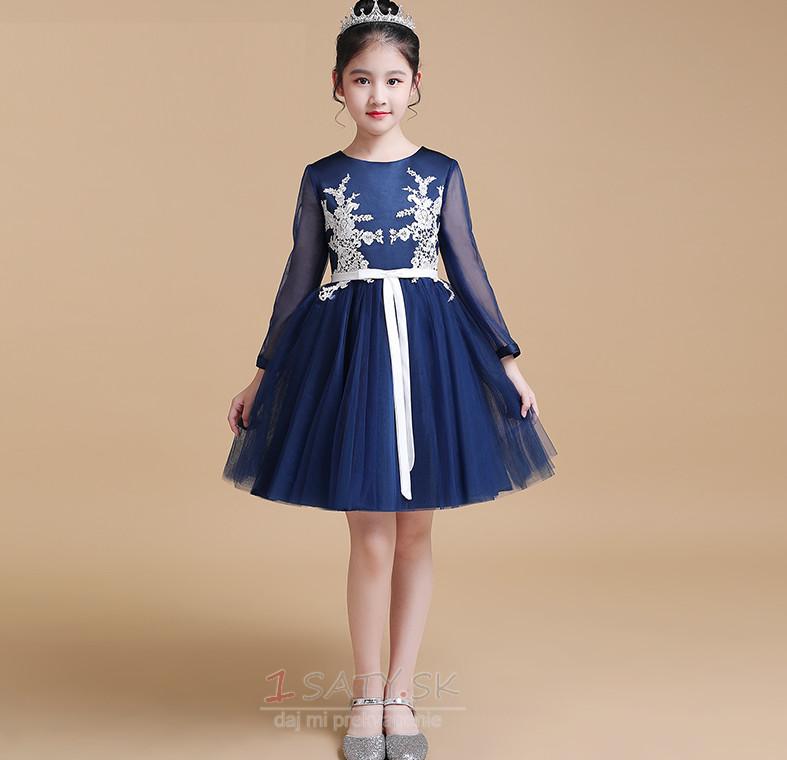 ... 3 Čipka Elegantné Kolená Dlhými rukávmi A-Riadok Kvetinové šaty - Strana  4 ded4c2ccf8b