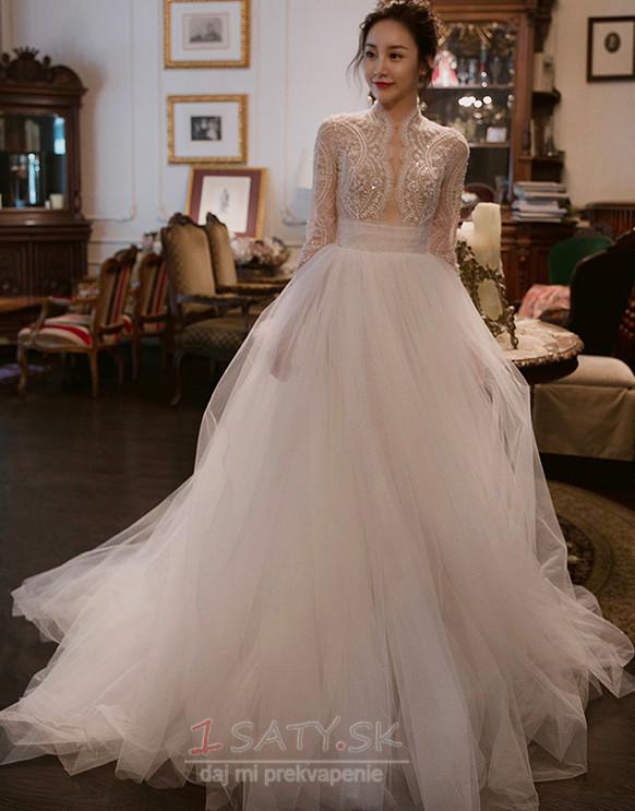 34852857e921 Tyl A-Riadok Hala Ilúzia rukávmi Dlho Elegantné Svadobné šaty - Strana 1 ...