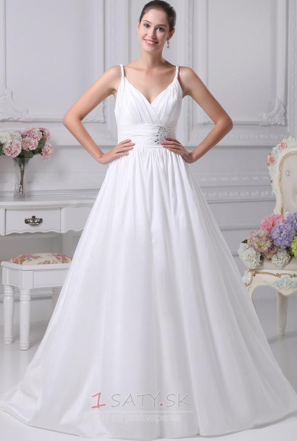 Satén Romantické S hlbokým výstrihom Beaded pásu Svadobné šaty - Strana 1  ... cafc628234